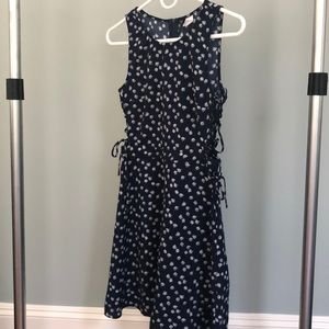 Navy floral dress with laced up sides